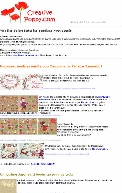 la newsletter creative poppy avec les dernires nouveauts de broderie poiubt de croix